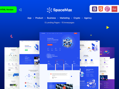 SpaceMax - Multipurpose HTML Landing page eco creative software finance html sass crypto currency blockchain bootstrap agency app