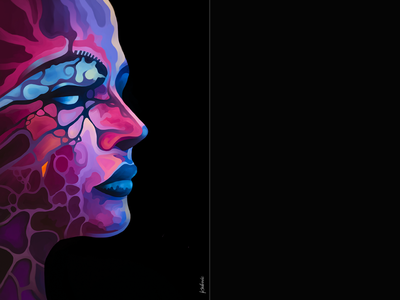 FineArt_Kasikovic vivid neon girl woman head abstract art abstract modern colorfull colors portrait scfi decore home painting picture digital art fineart design