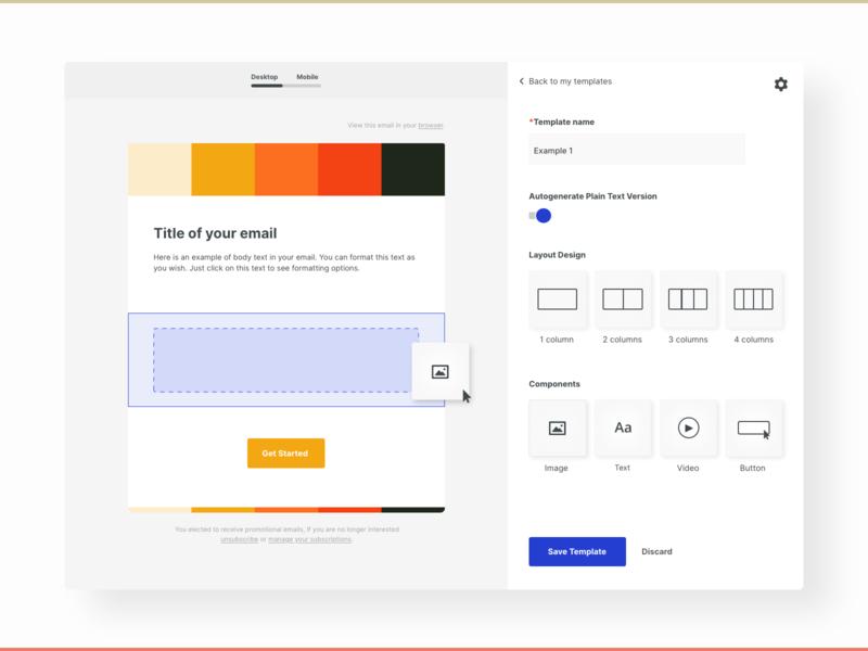 Email Template Editor product design product template design email design email interface app design uiux ui design