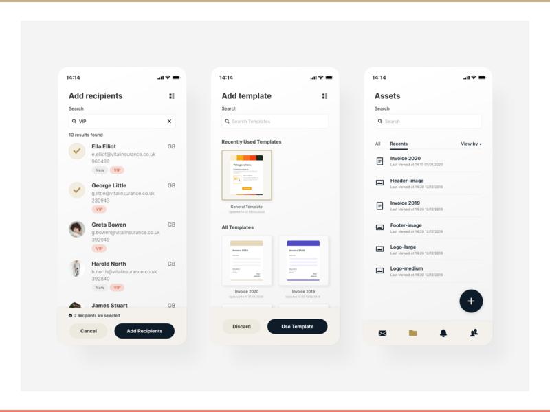Communication Processing app xd templates product design ui interface app design uiux design