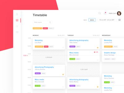 University Timetable calendar 7ninjas filters labels education dashboard university timesheet timetable