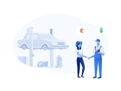 Carfix Illustration startup car shop car lift dollar people wrench handshake illustration car app mechanic fix carfix service repair car
