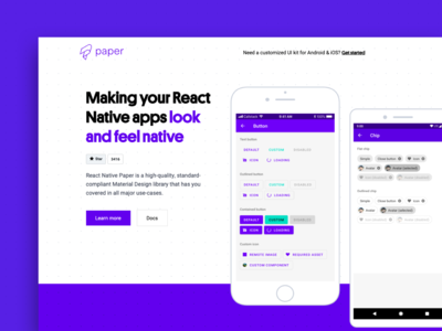 React Native Paper designs, themes, templates and downloadable