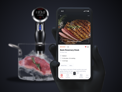 Chefman Recipe App 👨‍🍳 recipe card recipes guided cooking guided gourmet foodie food sous vide kitchen smart home bottom bar video tags cooking app cooking list recipe book recipe app recipe chefman