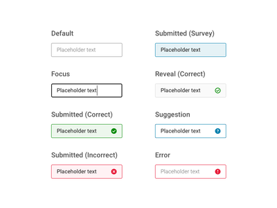 Question Type 1 of 4: Text Input submit type ahead test quiz tutorial submitted incorrect answer correct answer edtech form field form design form text input