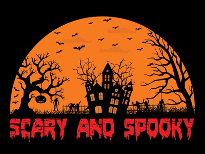 Scary And Spooky Design spooky night scarry night spooky scarry illustration unique t shirt t-shirt design halloween design halloweentshirts halloween