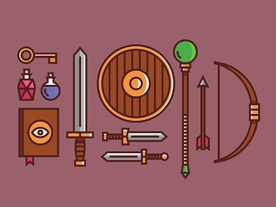 RPG stuff illustration magic wizard gear weapons potions sword fantasy rpg