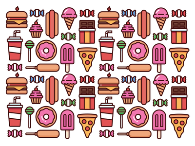 Junk Food hotdog pizza ice cream cupcake popsicle candy junk food food