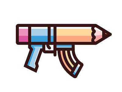 AR No. 2 artofwar ar pencil icon illustration gun weapons