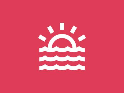 Wavey summer icon mark logo wavey water sunset sun wave waves
