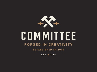 Committee pt. 4 hammer industrial power forge gear logo design apparel committee cmte