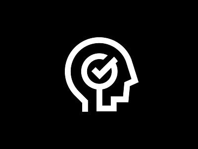 Brain Check tutor mark icon logo check mind person human head brain