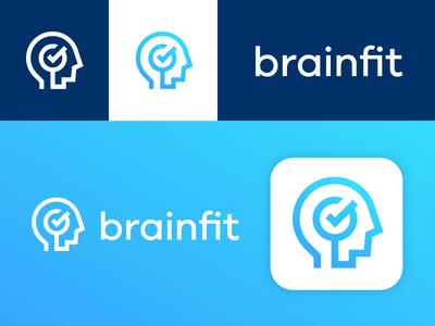 Brainfit Presentation icon app person head presentation training mental gradient trademark mark logo brain