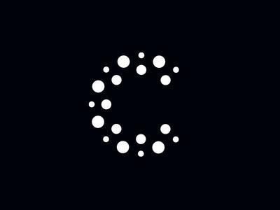 C dots movement flow dots type letter software data mark branding identity logo c
