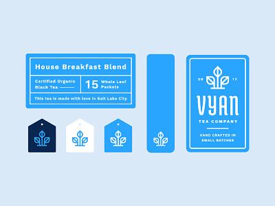 Vyan stickers + print materials brand identity branding badge bag logo tea label print sticker