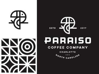 Paraiso Pt.3 identity branding bird logo pattern paradise tropical p letter lockup coffee toucan