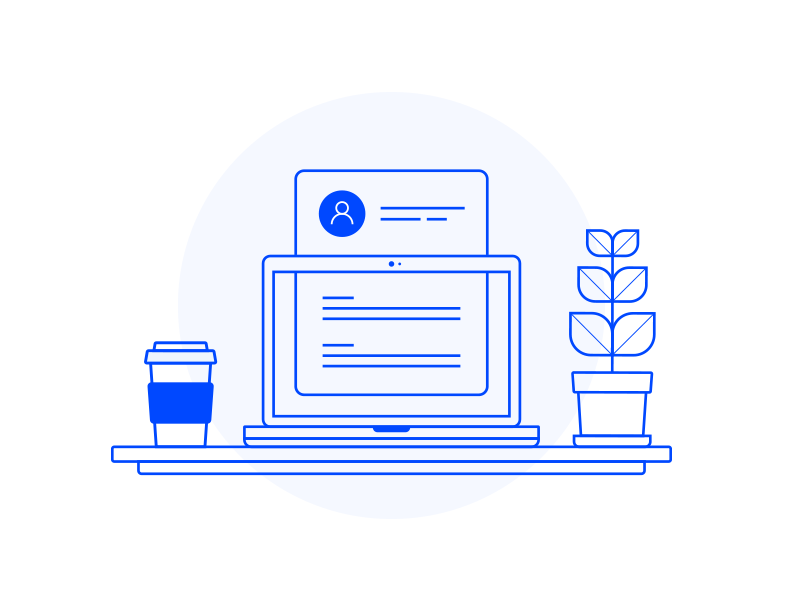 Job App Onboarding pt. 2 coffee computer application app blue illustration icon branding user interface ui onboarding