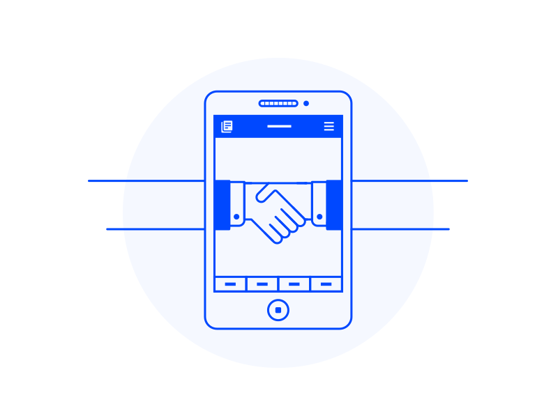 Job App Onboarding pt. 3 phone blue handshake hand application user interface ui onboarding app job icon illustration