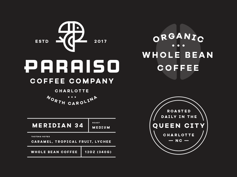 Paraiso pt. 4 toucan coffee letter p tropical paradise mark logo bird branding identity packaging