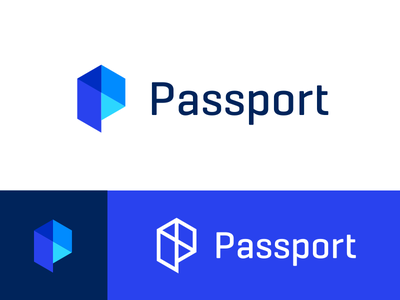 Passport Reject startup app blue branding brand city parking transit travel data p logo