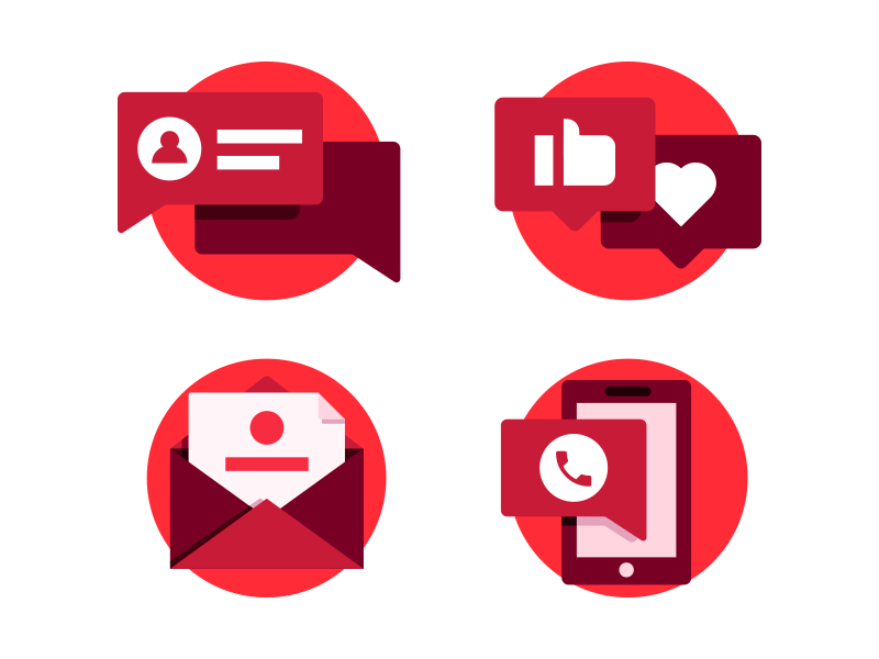 T-metrics Icons socialmedia ui email phone talk chat contact illustration icon