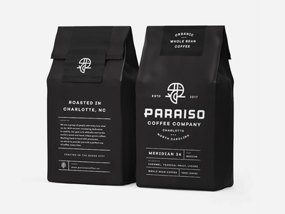 Paraiso Packaging pt. 2 coffee roaster bag package lockup type logo branding bird toucan packaging