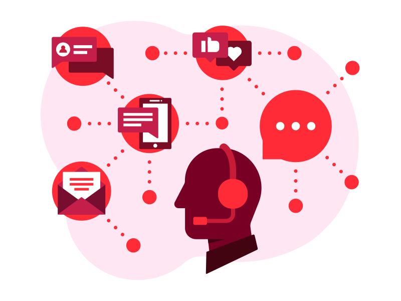 T-Metrics Header Illo call center support chat talk human connection communication icon ui website header illustration