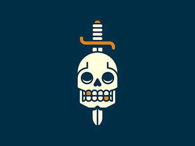 Skull & Sword dagger beanding death dead icon gold tooth sword skull
