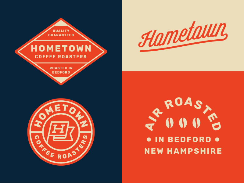 Hometown Coffee pt.4 coffee roaster logo brand label packaging coffee roaster identity flag h hometown