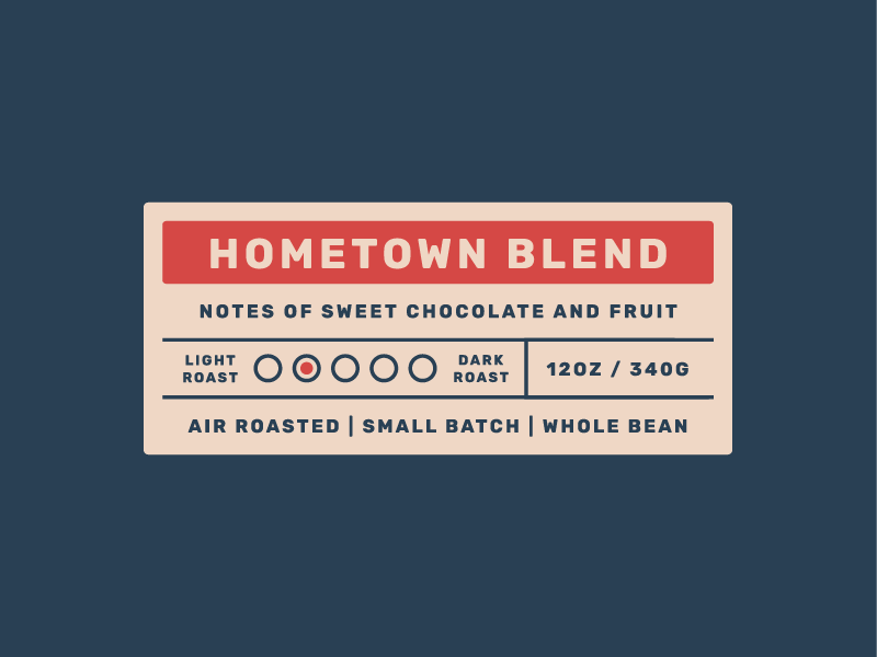 Hometown Labels lockup roast sticker hometown logo branding packaging coffee coffee bag coffee label label