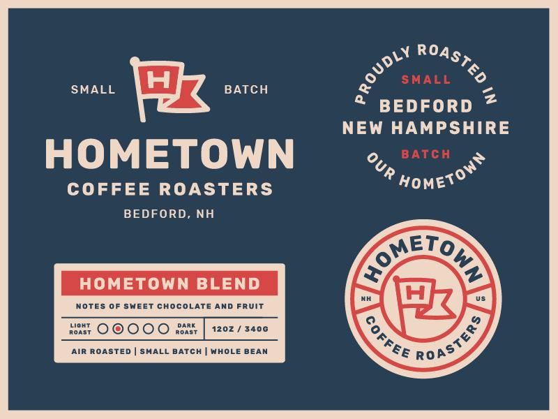 Hometown Packaging pt. 1 label badge logo coffee packaging. branding coffee bag coffee label coffee packaging