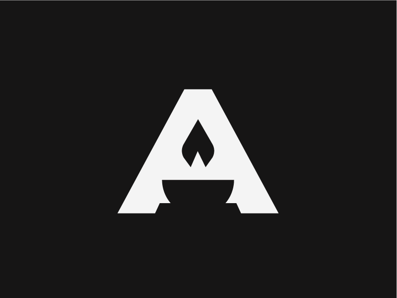 Alchemy architecture. home branding alchemy. brand torch logo letter a flame