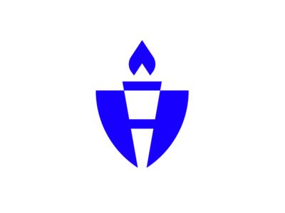 H+Torch+Shield Mark insurance life health icon branding design mark logo crest h torch
