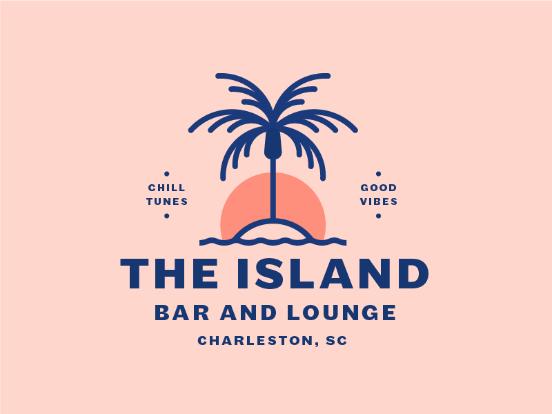 The Island branding sunset good vibes lounge bar palm tree palm island lockup logo