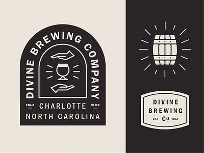 Divine Brewing barrel hand divine branding brand badge logo beer brewery brewing