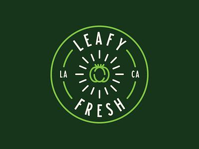 Leafy Fresh Logo badge brand branding logo restaurant vegan tomato