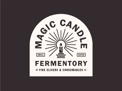 Magic Candle lockup logo badge label alcohol mead fermentory candle magic