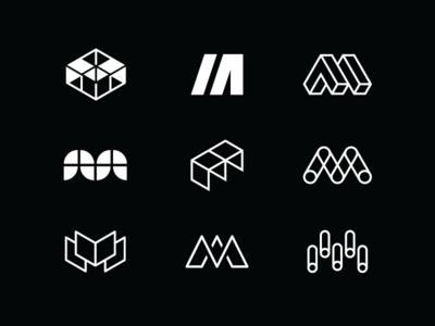 M marks icon letter monogram mill innovation tech education branding mark logo m