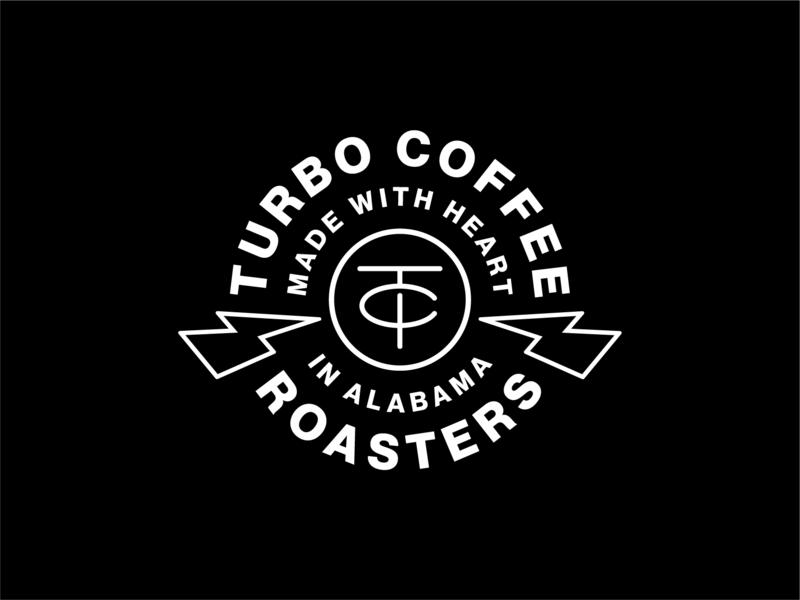Turbo Coffee Badge turbo coffee turbo lightning bolt lightning monogram typography identity coffee lockup brand trademark branding logo