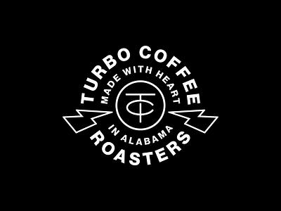 Turbo Coffee Badge turbo coffee turbo lightning bolt lightning monogram typography identity coffee lockup brand trademark branding logo
