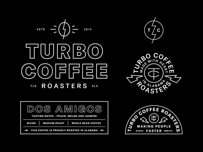 Turbo Coffee System packaging label badge lockup identity logo brand branding roasters turbo coffee coffee turbo