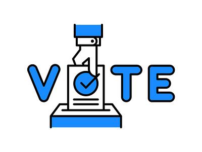Please Vote voting ballot hand icon illustration vote