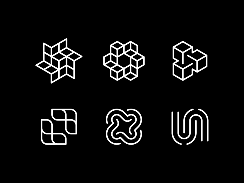Rejected Marks isometric cloud internet connection brand identity logo brand grid loop unison block