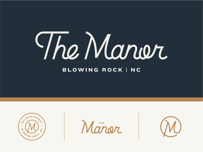 The Manor branding badge handlettering script lettering lockup brand logo hotel logo boutique hotel hotel manor