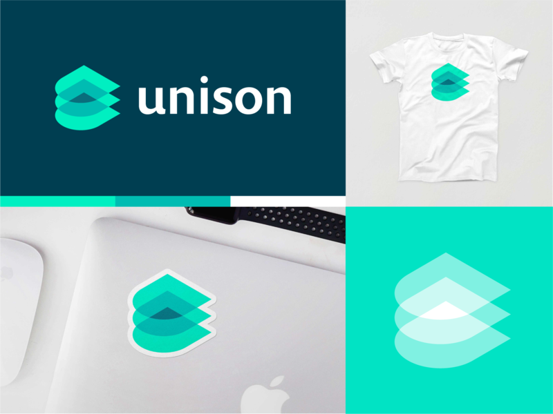 Unison pt.1 unison cloud tech startup layers tech logo startup branding branding logo mockup shirt sticker lockup