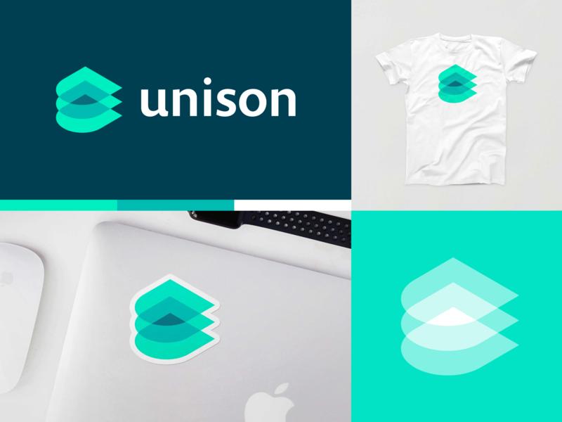 Unison pt.1 unison cloud tech startup layers tech logo startup branding branding logo mockup shirt sticker lockup