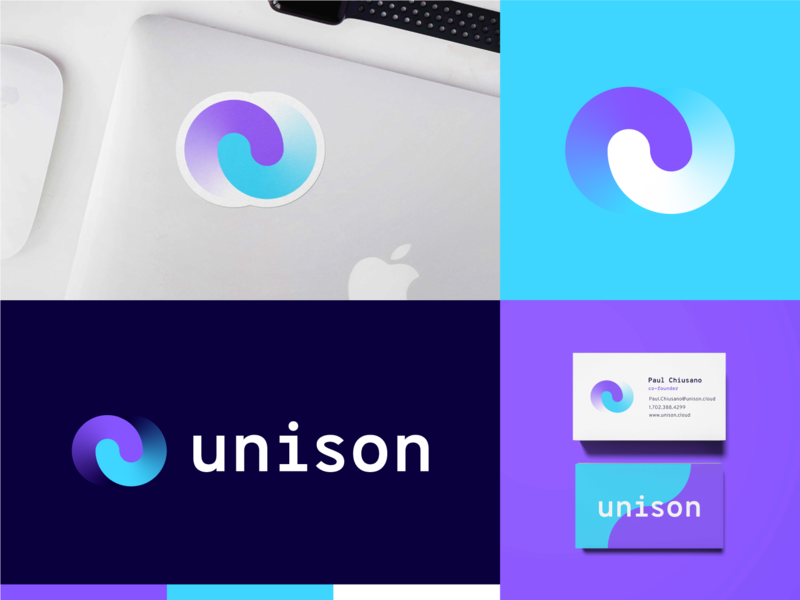 Unison pt.2 lockup sticker shirt mockup logo branding startup branding tech logo layers startup tech cloud unison