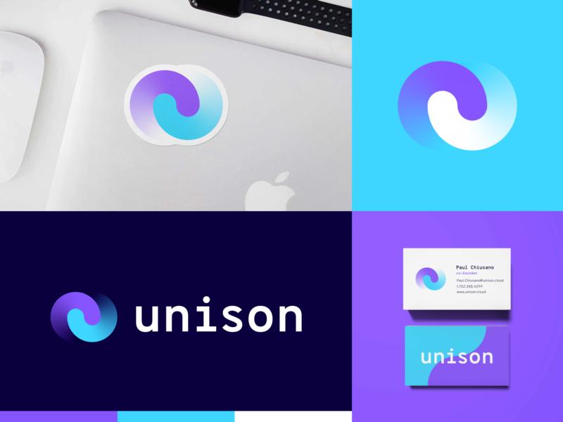 Unison pt.2 lockup sticker shirt mockup logo branding startup branding tech logo layers startup tech cloud unison
