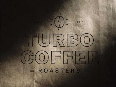 Turbo Coffee Stamp brand identity branding logo packaging coffee bag coffee bean lightning bolt coffee turbo coffee