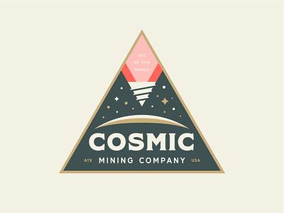 Cosmic Mining pt.1 stars planet lockup branding logo badge drill space mining